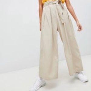 ASOS Tan Paper Bag Tie Waist Wide Leg Sz 6
